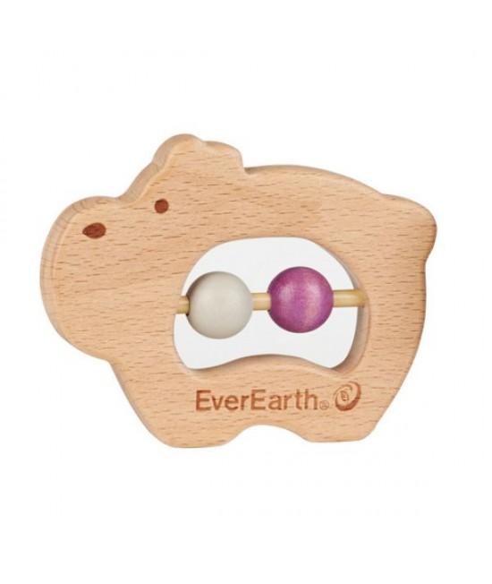 Jucărie din lemn pentru bebeluși - Hipopotam EverEarth