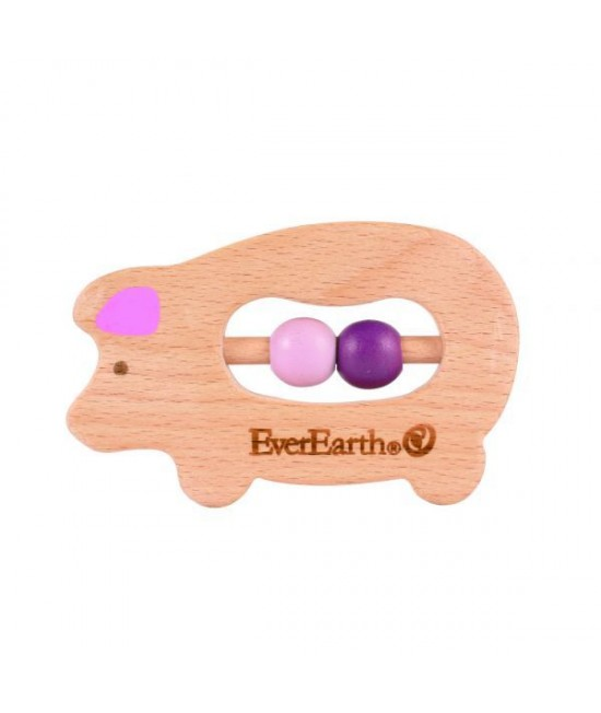 Jucărie din lemn pentru bebeluși - Purceluș EverEarth
