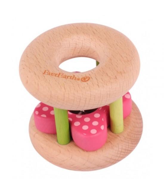 Jucărie din lemn pentru bebeluși - Zornăitoare cu floare EverEarth