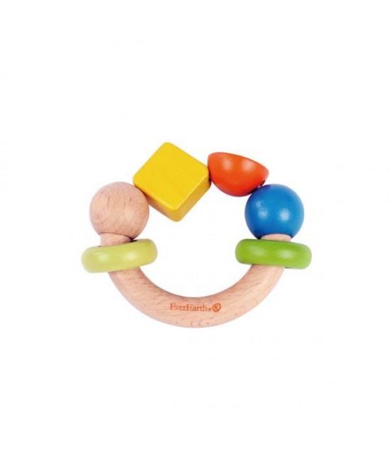 """Jucărie din lemn pentru bebeluși - Inel de prins """"dreptunghi galben"""" EverEarth"""