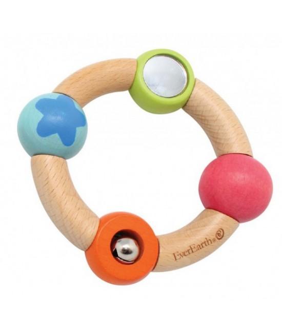 """Jucărie din lemn pentru bebeluși - Inel de prins """"mica stea albastră"""" EverEarth"""