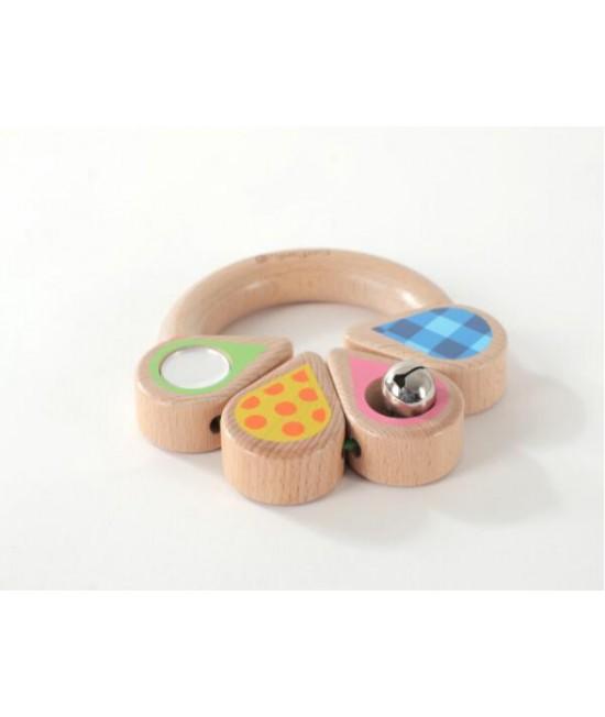 """Jucărie din lemn pentru bebeluși - Inel de prins """"frunză roz"""" EverEarth"""