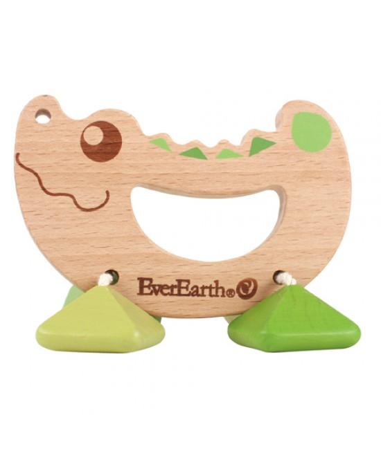 Jucărie din lemn pentru bebeluși - Zornăitoare crocodil EverEarth
