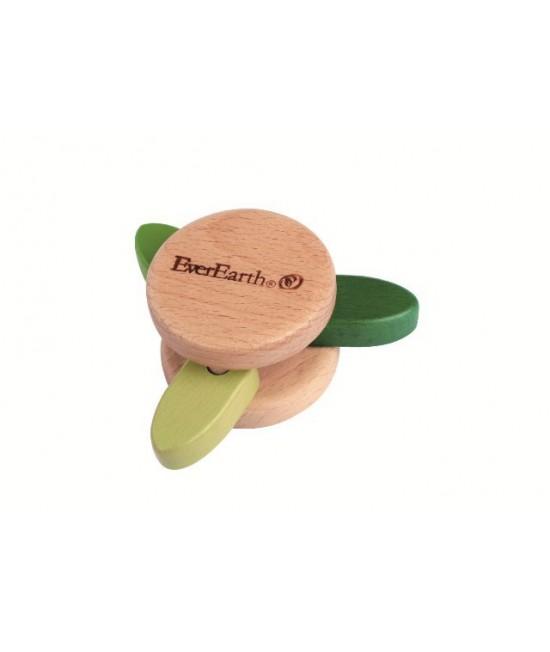 Jucărie din lemn pentru bebeluși - Zornăitoare cu frunze EverEarth