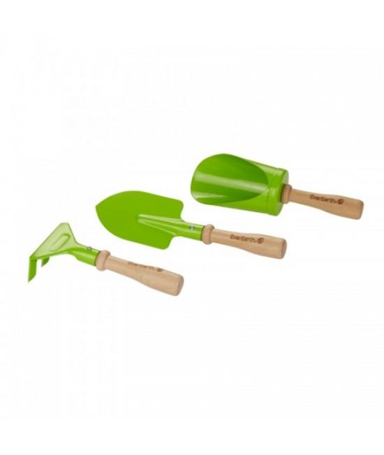 Set de 3 unelte de grădină din lemn EverEarth pentru copii