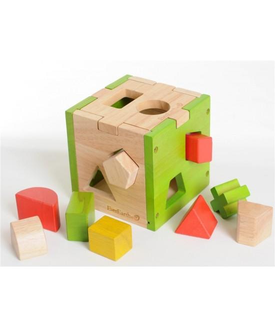 Sortator de forme cu 10 cuburi colorate din lemn EverEarth