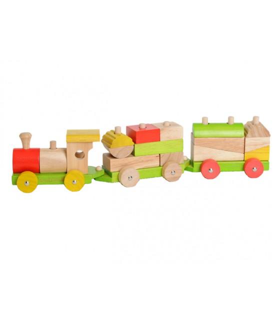 Trenuleț din lemn cu cuburi de construit și stivuit EverEarth