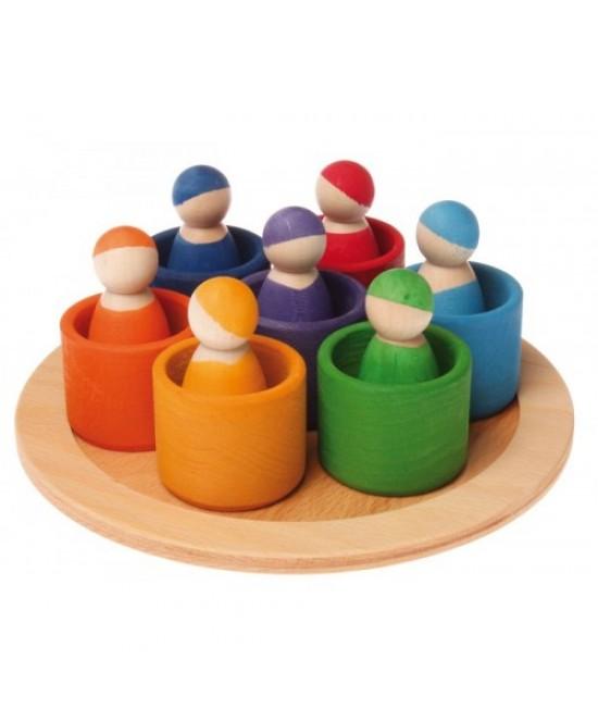 7 prieteni în 7 căsuțe - jucărie Waldorf / Montessori din lemn de anin și arțar Grimms