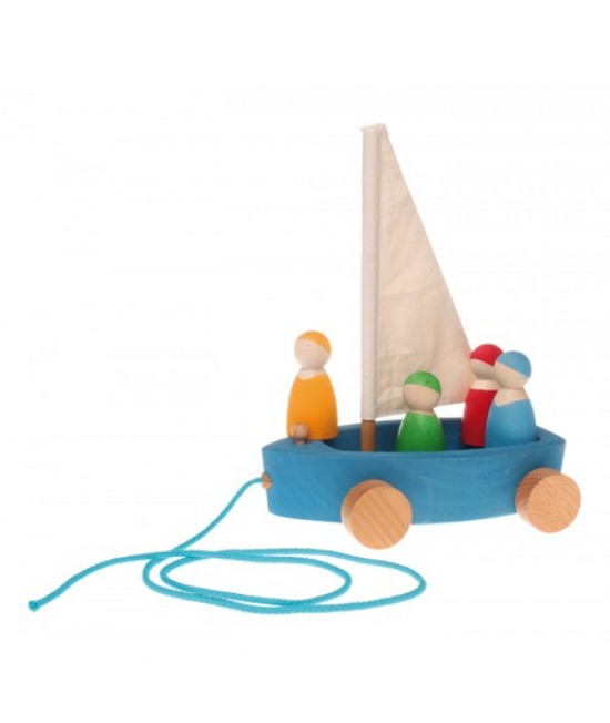 Bărcuța cu 4 marinari - jucărie Waldorf / Montessori din lemn de anin și arțar Grimms