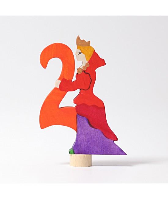 Figurină decorativă cu Zână și Cifra 2 din lemn colorat ecologic GRIMMS Spiel und Holz Design