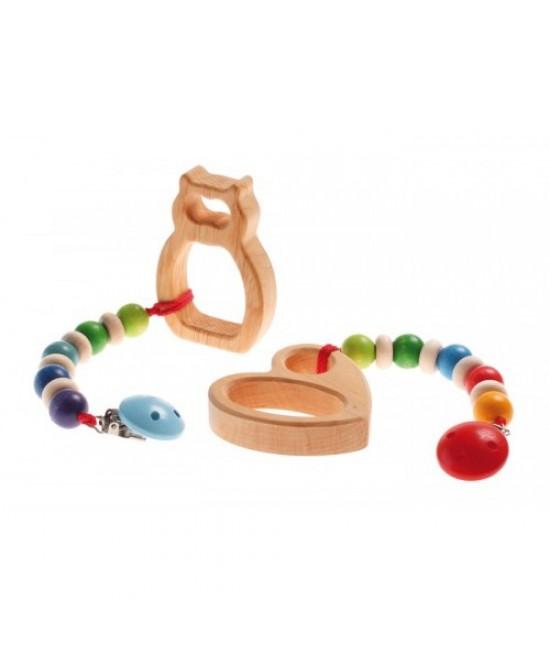 Lănțișor din lemn ecologic pentru suzetă sau pentru jucăria preferată Grimms Spiel und Holz Design