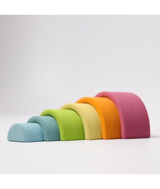Set Curcubeu Pastel 6 piese din lemn de tei Grimms (Rainbow Mediu Pastel)