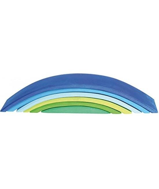 Poduri albastre-verzi - 6 piese din lemn de tei Grimms