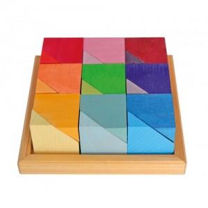 Provocarea cuburilor - joc creativ din lemn de tei vopsit natural Grimm's Spiel und Holz Design
