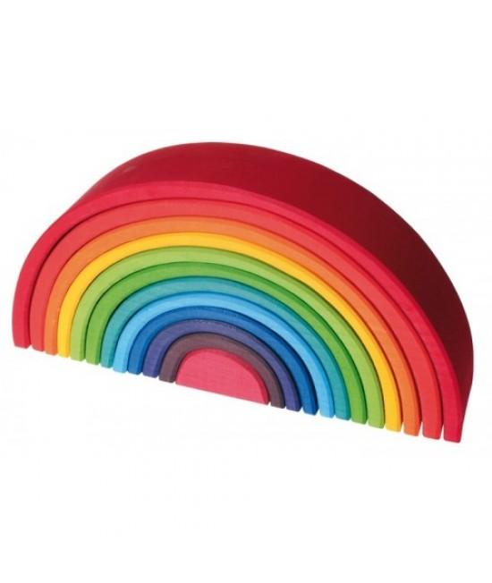 Set Curcubeu 12 piese din lemn de tei Grimms (Rainbow Mare)