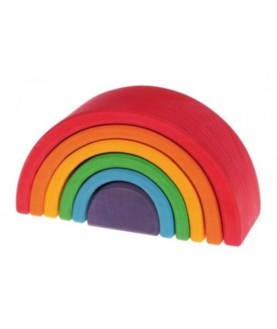 Set Curcubeu 6 piese din lemn de tei Grimms (Rainbow Mediu)
