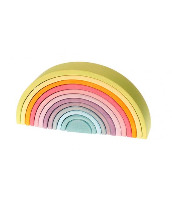 Set Curcubeu Pastel 12 piese din lemn de tei Grimms (Pastel Rainbow Mare)