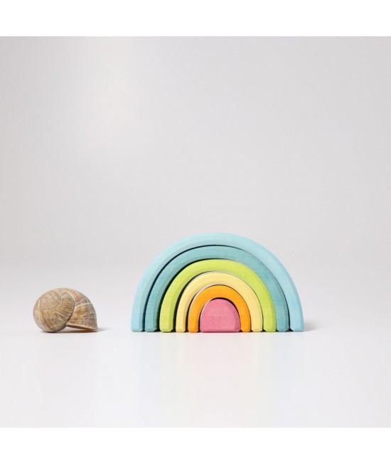 Set Mini-Curcubeu Pastel 6 piese din lemn de tei Grimms (Rainbow Mic Pastel)