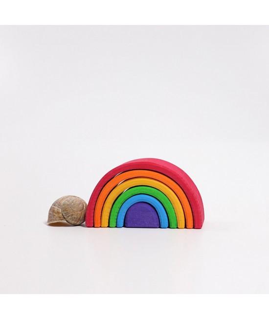 Set Mini-Curcubeu 6 piese din lemn de tei Grimms (Rainbow Mic)