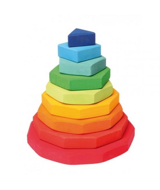 Turn de stivuit curcubeu Grimms cu forme geometrice din lemn pentru bebeluși