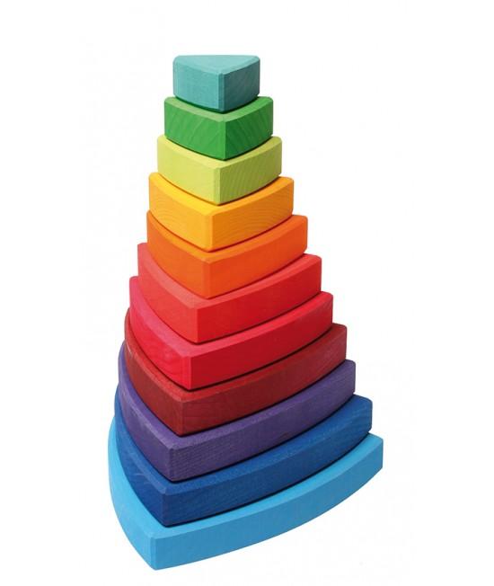 Turn de stivuit curcubeu Grimms cu triunghiuri din lemn pentru bebeluși