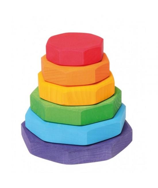 Turn mic de stivuit curcubeu Grimms cu forme geometrice din lemn pentru bebeluși