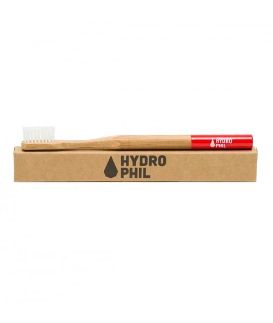 Periuță de dinți medium-soft din bambus pentru copii mari și adulți - Hydrophil roșie