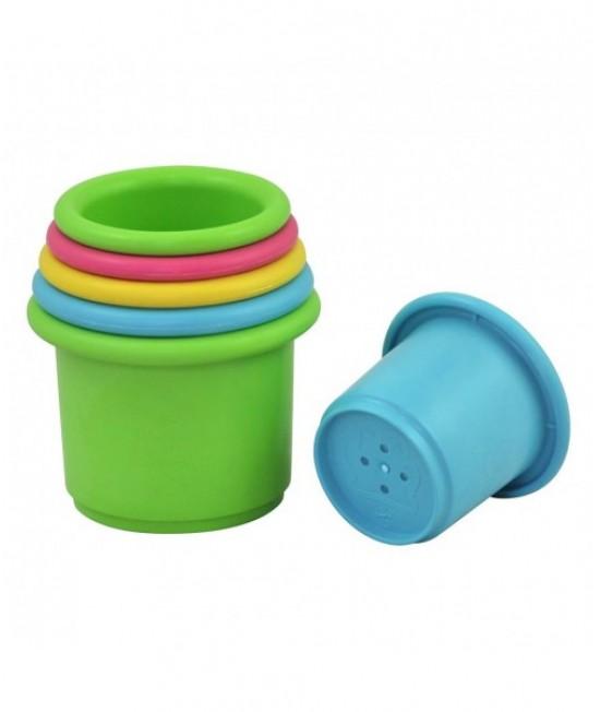 Păhărele din plastic ECO iPlay Green Sprouts de stivuit pentru plajă sau joaca în apă
