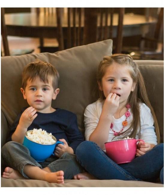 Bol mare din inox de învățare Innobaby roz - ușor de ținut în mână - cu un mâner - Din Din Smart Dinner Bowl