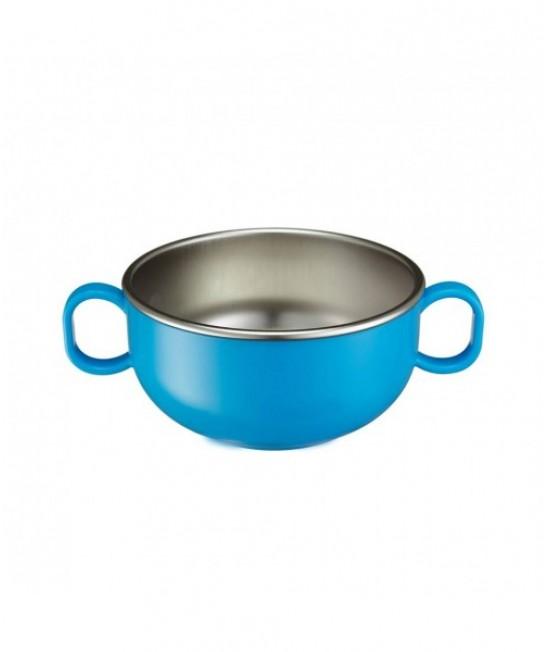 Bol mediu din inox de învățare Innobaby albastru - ușor de ținut în mână - cu două mânere - Din Din Smart Starter Bowl