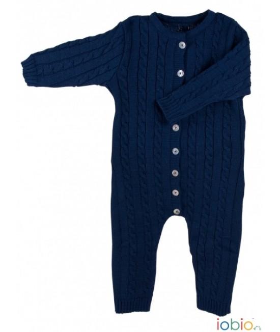 Salopetă overall iobio din lână Merino organică tricotată pentru bebeluși - bleumarin