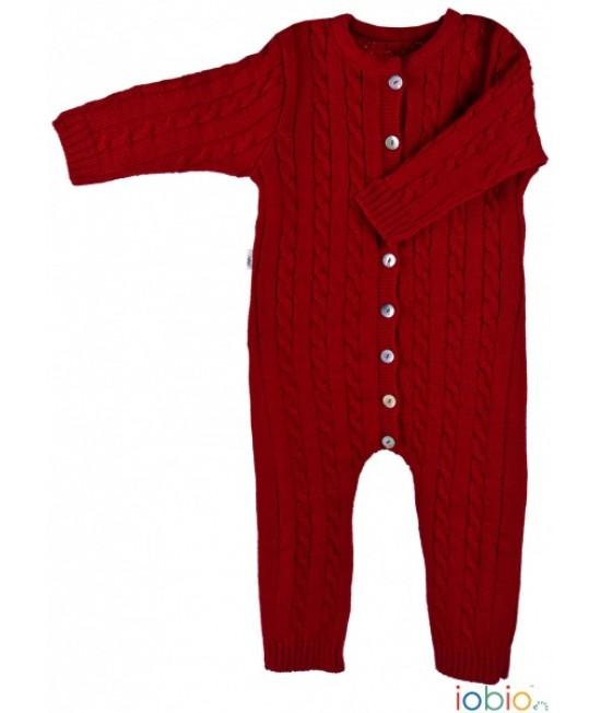 Salopetă overall iobio din lână Merino organică tricotată pentru bebeluși - roșie