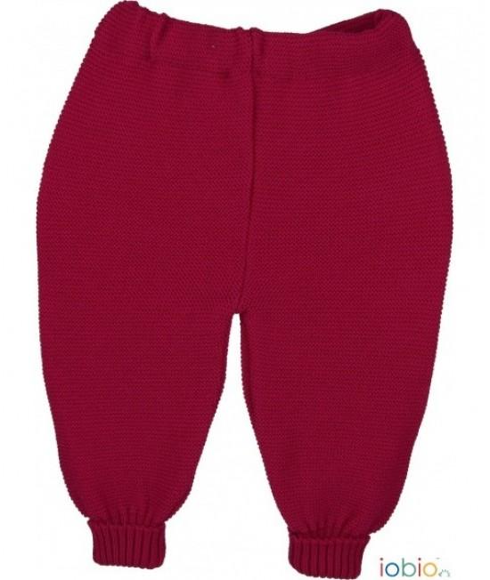 Pantaloni roșii iobio din lână Merino tricotată