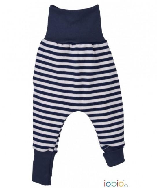 Pantaloni tip șalvari iobio din bumbac organic - Striped Navy