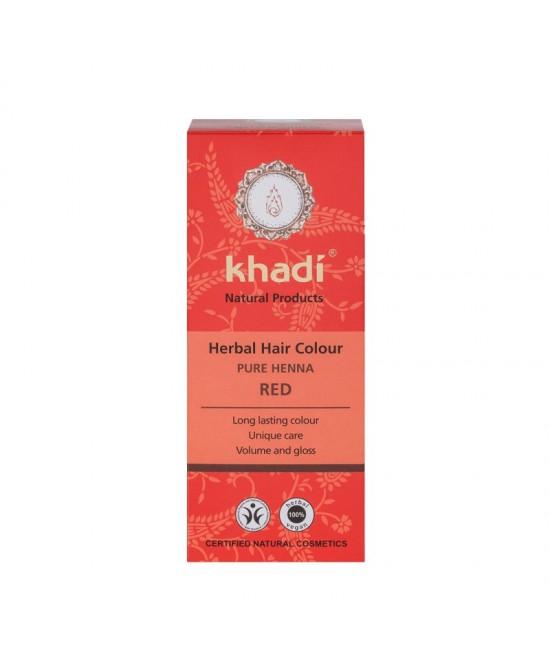 Vopsea de păr naturală Henna pură - Roșu + șampon Khadi 30 ml CADOU