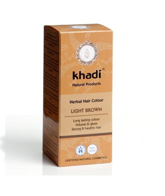 Vopsea de păr naturală Șaten-Castaniu deschis Khadi cu henna, amla și plante ayurvedice