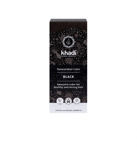 Vopsea de păr naturală Negru Khadi cu henna, amla și plante ayurvedice