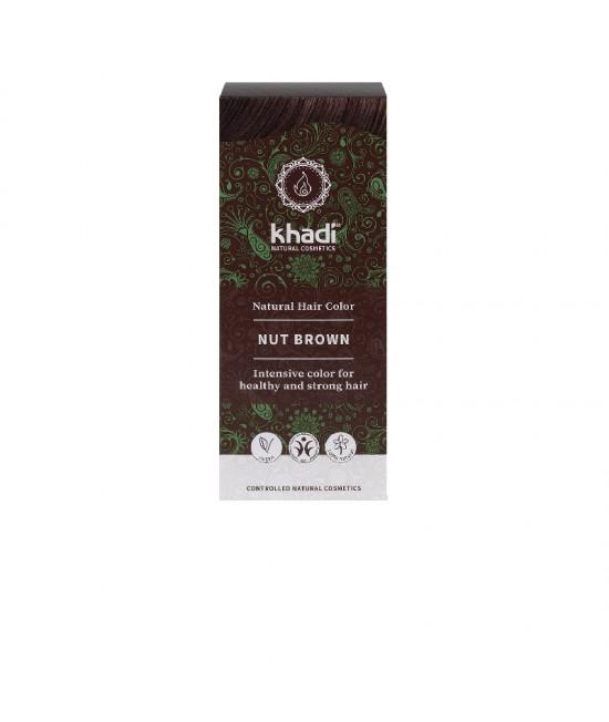 Vopsea de păr naturală Șaten-Castaniu-Nucă Khadi cu henna, amla și plante ayurvedice + Șampon Khadi Cadou