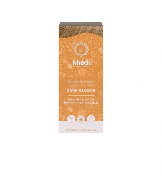 Vopsea de păr naturală Blond Închis Khadi cu plante ayurvedice, fără amoniac + șampon Khadi 30 ml CADOU
