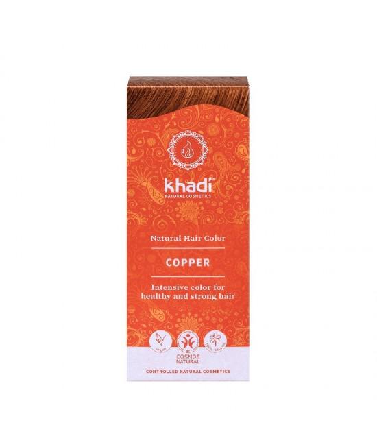 Vopsea de păr naturală Cupru Khadi cu plante ayurvedice, fără amoniac + șampon Khadi 30 ml CADOU