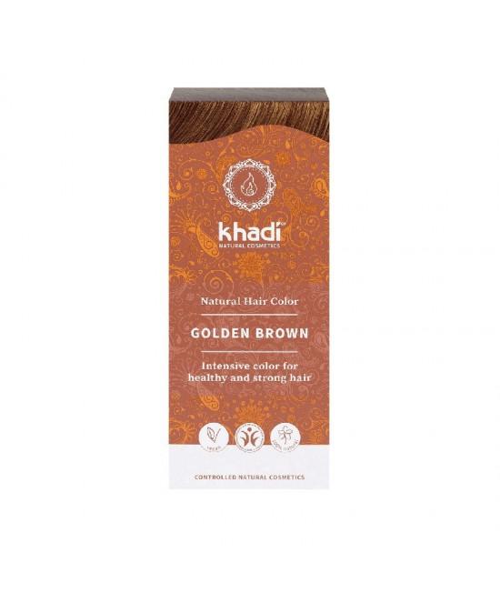 Vopsea de păr naturală Șaten-Auriu Khadi cu henna, amla și plante ayurvedice
