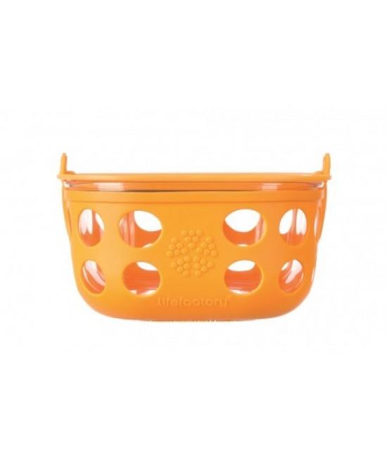 Caserolă din sticlă cu manșon de silicon portocaliu LifeFactory 240 ml