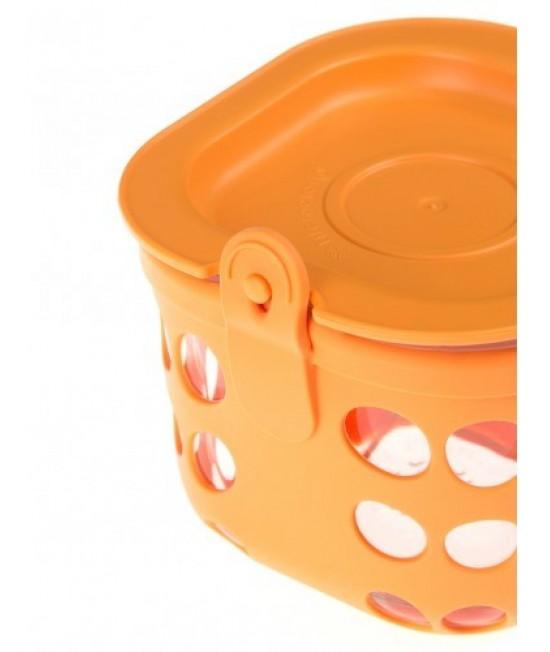 Caserolă din sticlă cu manșon de silicon portocaliu LifeFactory 475 ml