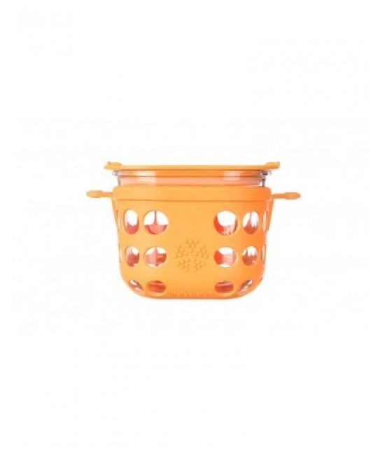 Caserolă din sticlă cu manșon de silicon portocaliu LifeFactory 950 ml