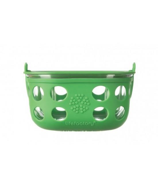 Caserolă din sticlă cu manșon de silicon verde LifeFactory 240 ml