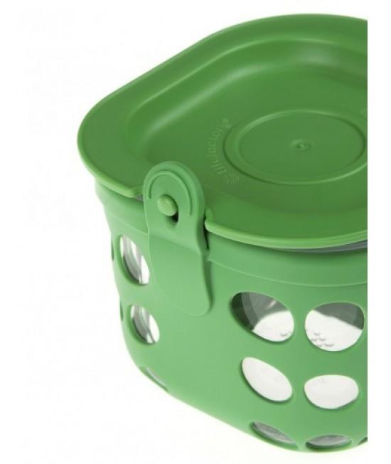 Caserolă din sticlă cu manșon de silicon verde LifeFactory 475 ml