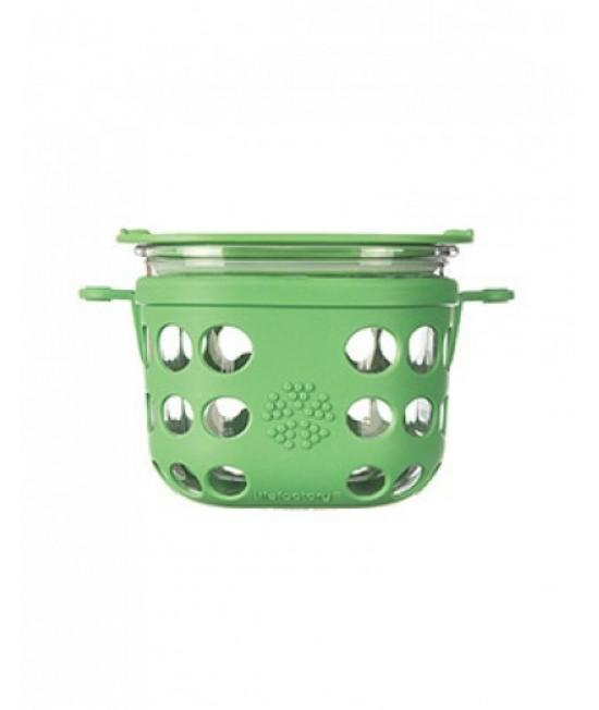 Caserolă din sticlă cu manșon de silicon verde LifeFactory 950 ml