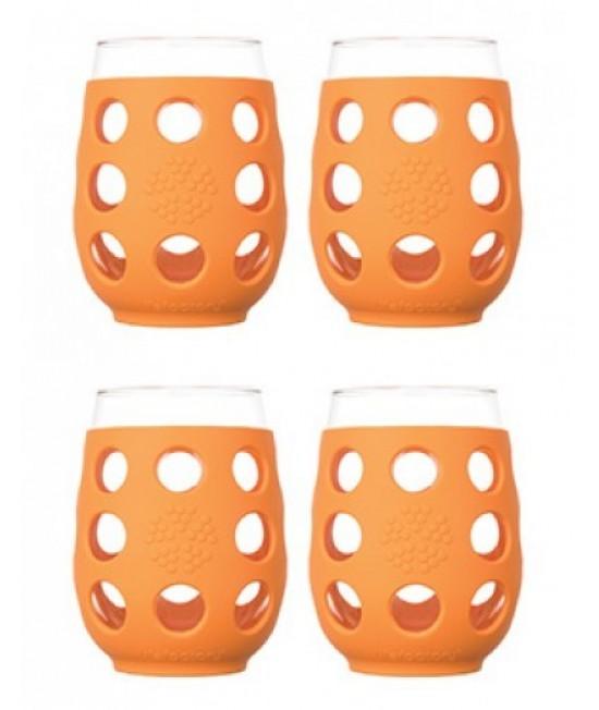 Pahare din sticlă cu manșon de silicon portocaliu LifeFactory 500 ml (set de 2 pahare)