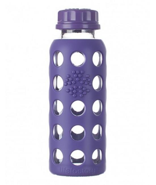 Sticlă LifeFactory (din sticlă) cu manșon de silicon și capac clasic - mov 250 ml