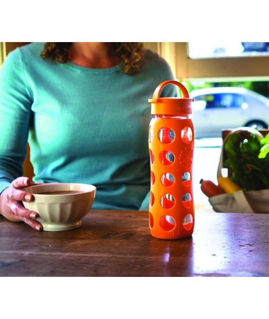 Sticlă LifeFactory (din sticlă) cu manșon de silicon și capac clasic - portocaliu 650 ml